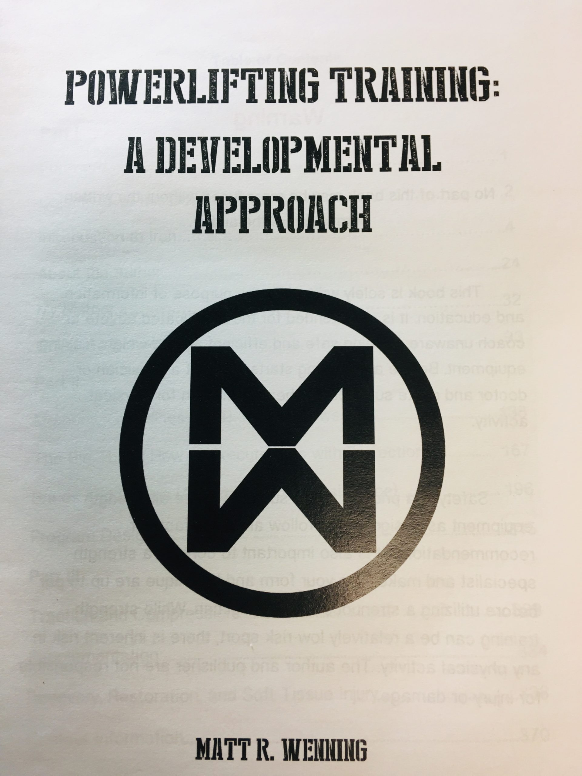 Book Review-Matt Wenning's POWERLIFTING TRAINING A Developmental Approach